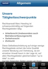 Screenshot unserer Kanzlei-App (Apple-Version)